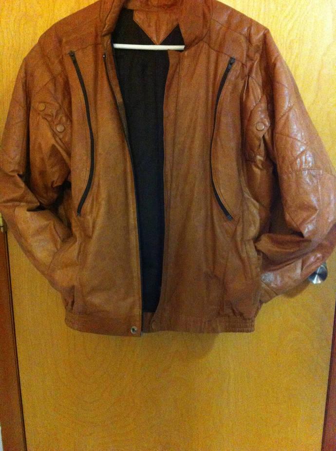 Caramel Mens Genuine Leather Jacket/Vintage Leather Rustic Jacket/Size Small