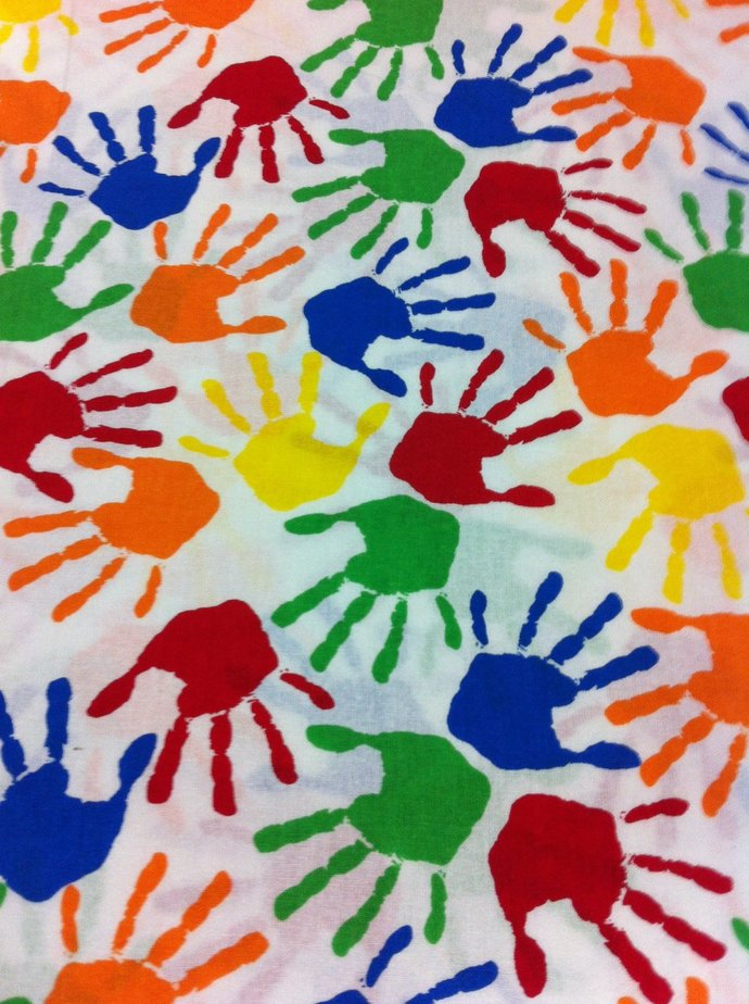 Back to School Hand Prints Cotton  fabric/Apparel/quilting/Seasonal