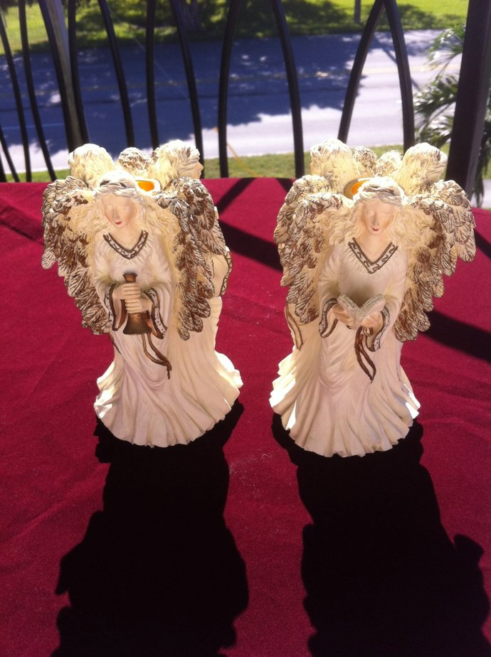 Vintage Collectible Two Angels Set /Triple Angel Figurine /Candle Holder