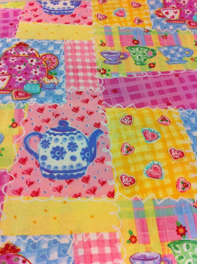 Tea Party Patch Cotton Fabric Sewing Craft Supplies/ Quilting 100% Cotton/ Home