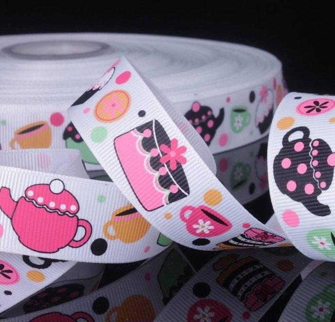 """3yards Teapot Cupcake  Printed Grosgrain Ribbon  / 7/8"""" (22mm) width /DIY Hair"""
