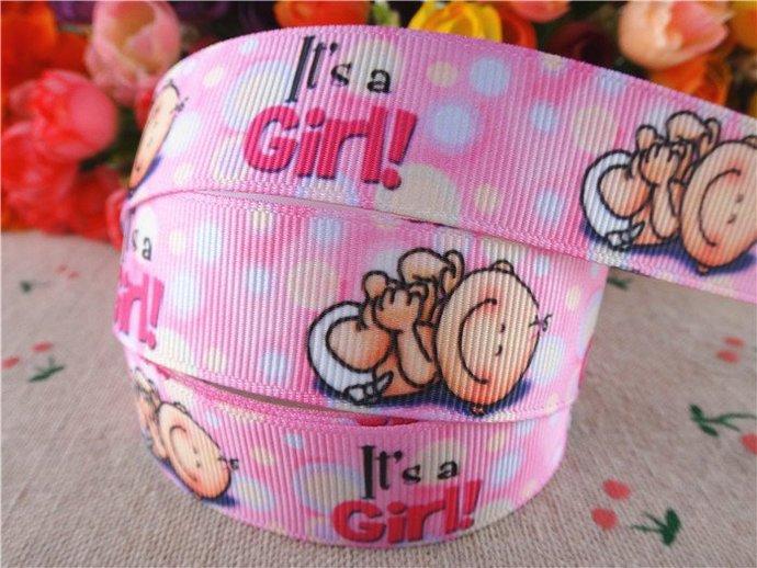 """Baby Girl Pink Printed Grosgrain Ribbon 7/8"""" ( 22mm)Width /Hair Bow DIY/Head"""