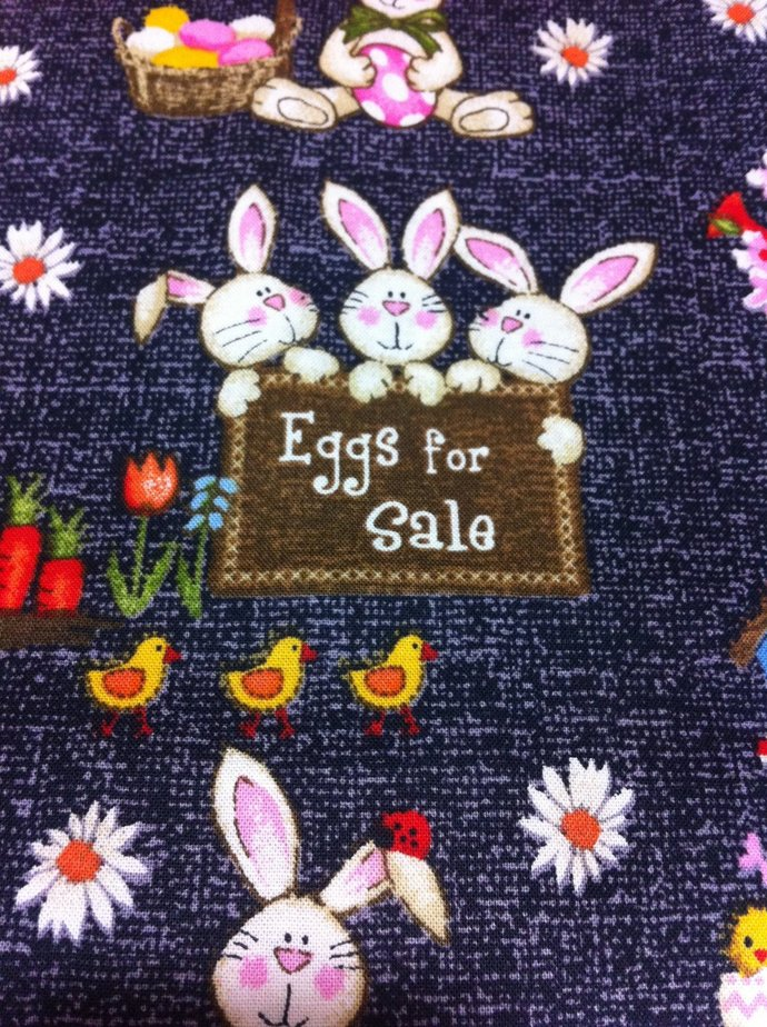 Eggs for Sales on Gray Cotton Fabric/Sewing craft supplies/Apparel Fabric/ Quilt