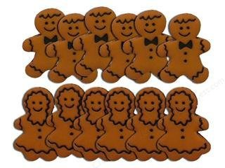 Mr and Mrs Gingerbread Cookies Novelty  Buttons - Sewing Craft Supplies