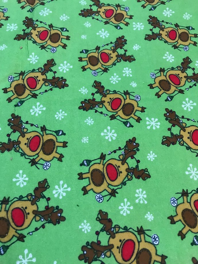 Christmas Reindeer on Green Cotton Flannel/Sewing Craft Supplies/Home Decor/