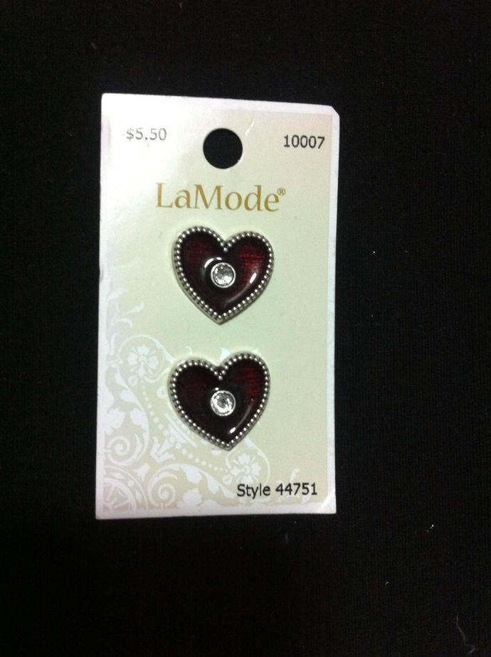 Red Heart Buttons/Burgundy Color with a Blink Touch /Novelty Sewing Crafts