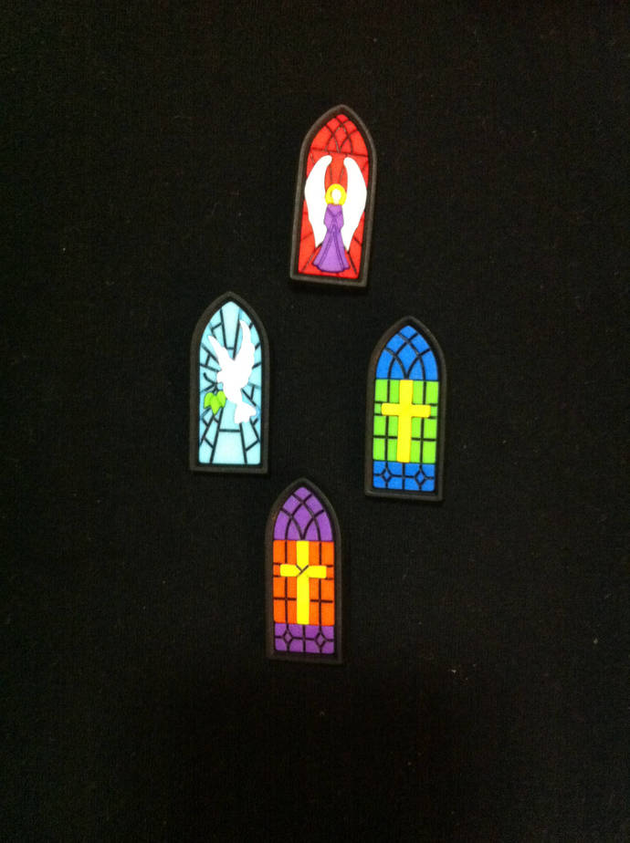 Stained Glass Holiday  Buttons / Sewing supplies / DIY craft supplies / Novelty