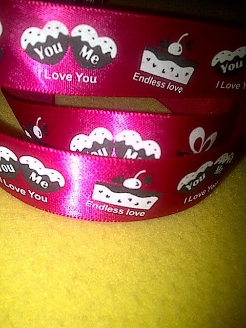 """Love You on Red Satin Ribbon/ 7/8"""" (22mm) width /DIY Hair bow / Head Band/Craft"""