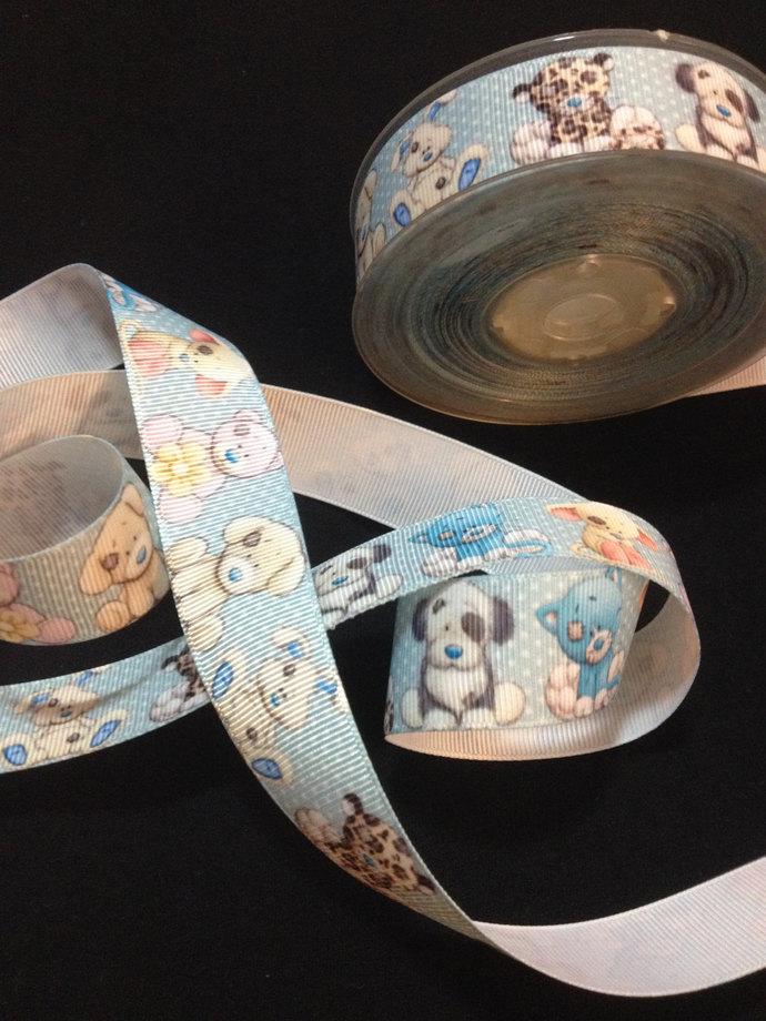 "Cute & Cuddly Wild Babies Printed Grosgrain Ribbon/1""(25 mm) width /DIY Hair Bow"