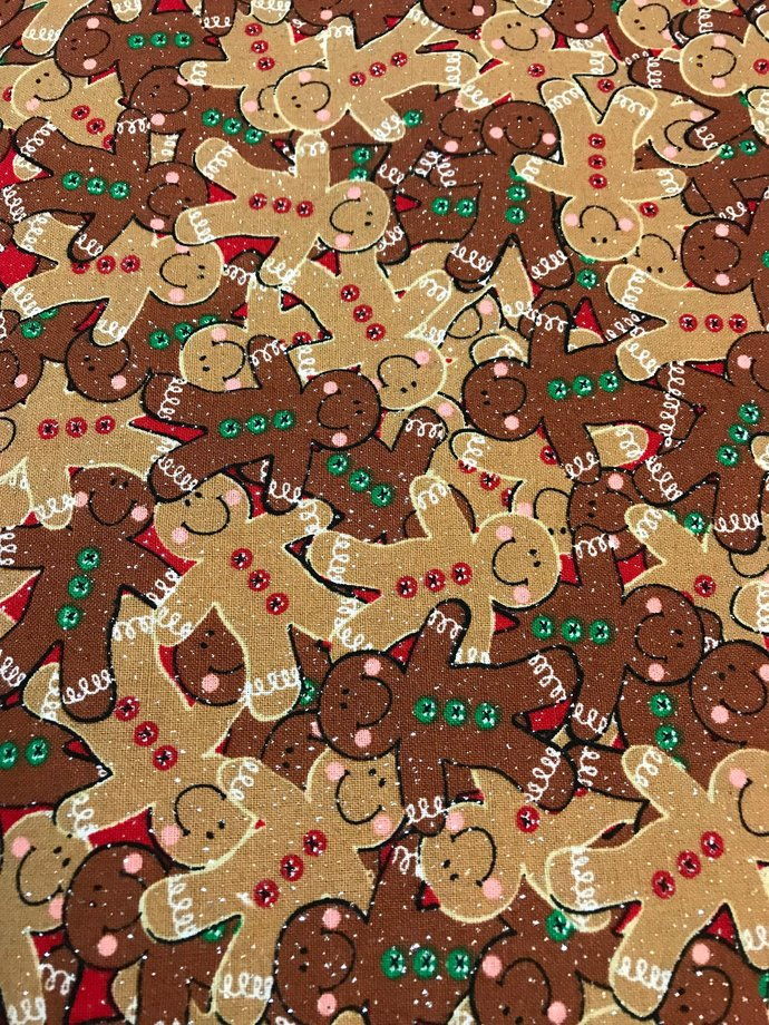 Christmas Gingerbread Boy Cotton Fabric /Sewing Craft Supplies / Home Decor/