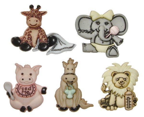 Cute & Cuddly Wild Babies Plastic Buttons/ Sewing supplies / DIY craft supplies