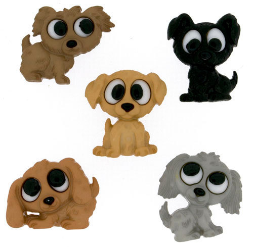 Playing Puppies Plastic  Buttons / Sewing supplies / DIY craft supplies /