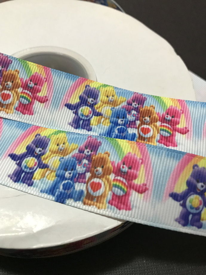 "Care Bears  Printed Grosgrain Ribbon  /1""(25 mm) width /DIY Hair Bow / Head band"