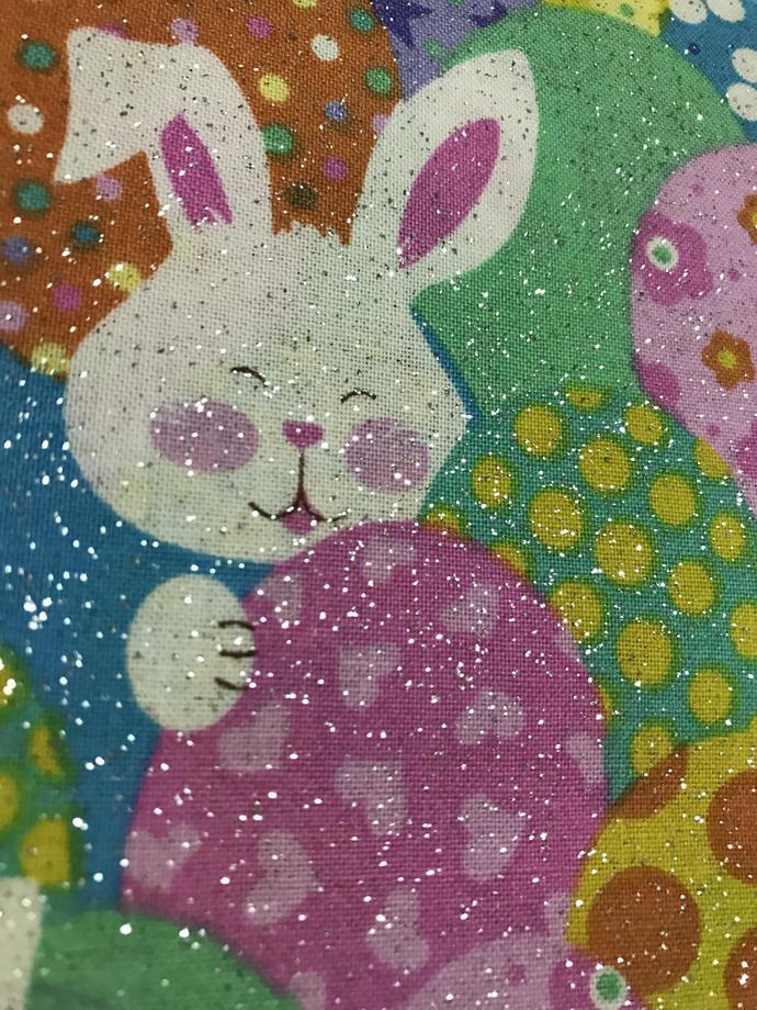 Bunnies around Eggs with Glitter Cotton Fabric / Easter Seasonal Print/Craft