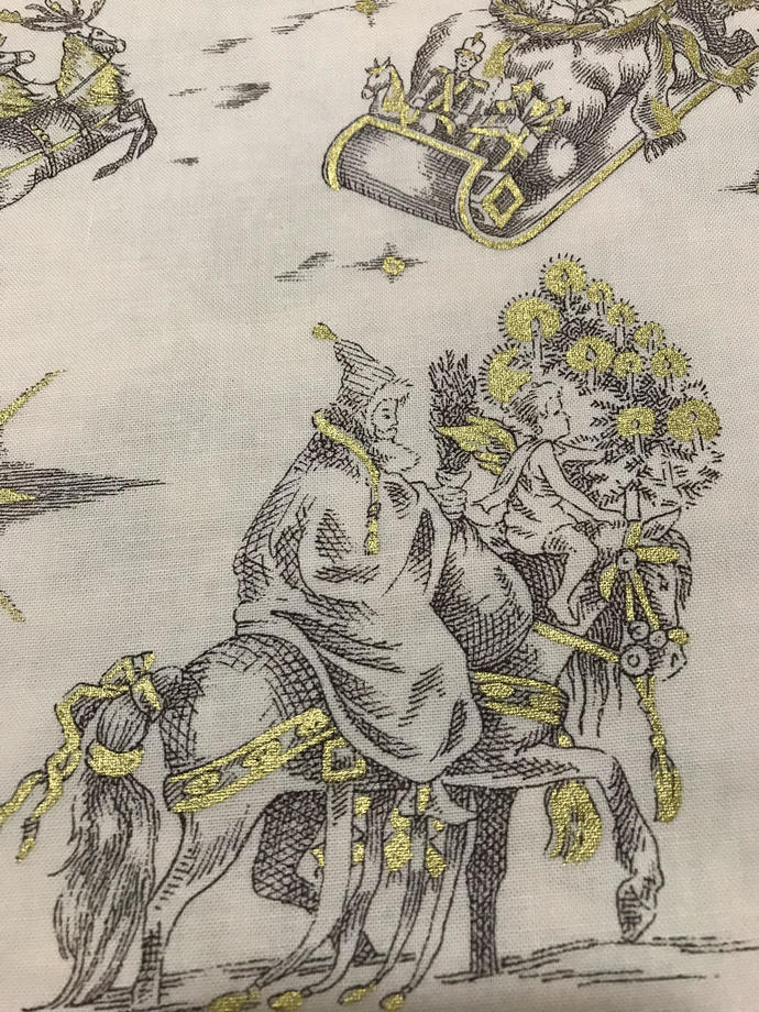 Gold Metal Christmas Noel Classic Toile Cotton Fabric /Sewing Craft Supplies