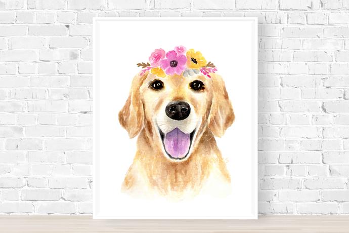 Golden Retriever with Pink Flower Crown Print, Watercolour Dog Portrait, Golden