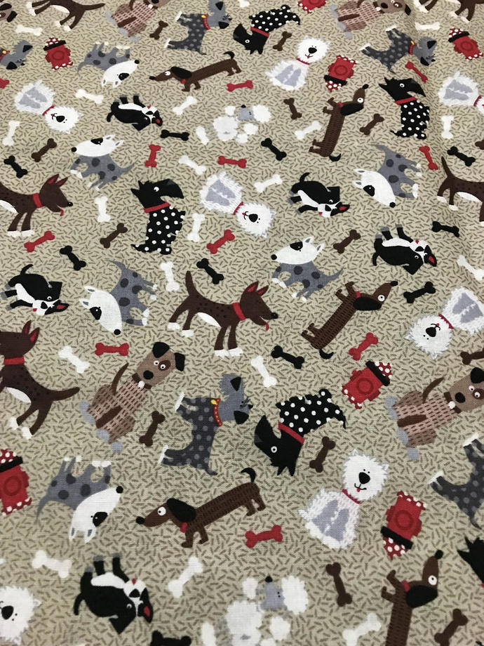 Puppies & Bones on Brown Cotton Fabric /Sewing Craft Supplies / Home Decor/