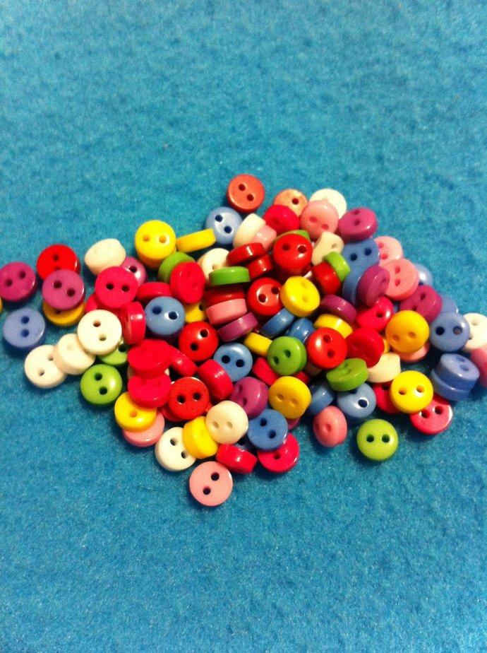 Mini Mini Mini Multicolor Plastic  Buttons/Two Holes Buttons/ Sewing