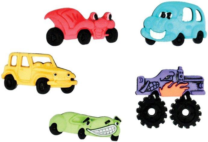 Bumper Cars Plastic Buttons / Sewing supplies / DIY craft supplies /Dress it Up
