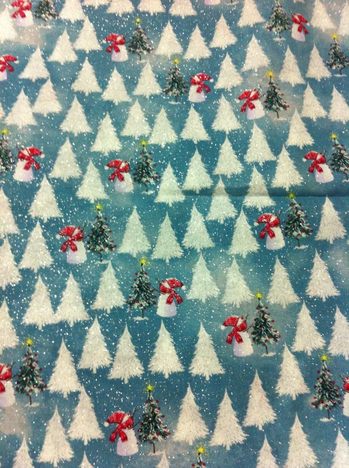 Christmas Snowmen Snowflakes  Cotton Fabric /Sewing Craft Supplies / Home Decor/