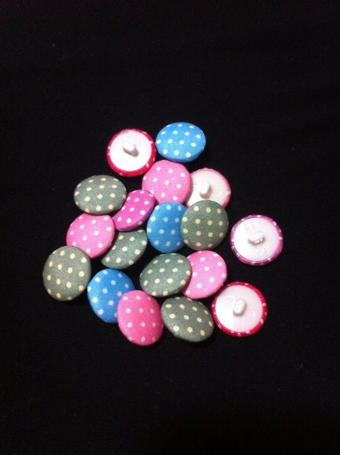 Multicolored Acrylic Fabric Covered Buttons/Sewing Supplies/DIY Craft