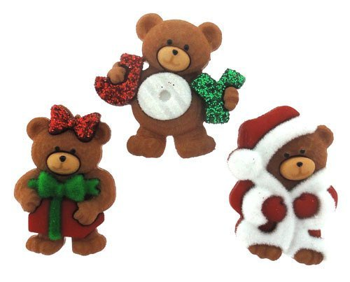 Xristmas Teddy Bears Plastic Buttons/ Sewing supplies / DIY supplies / Novelty