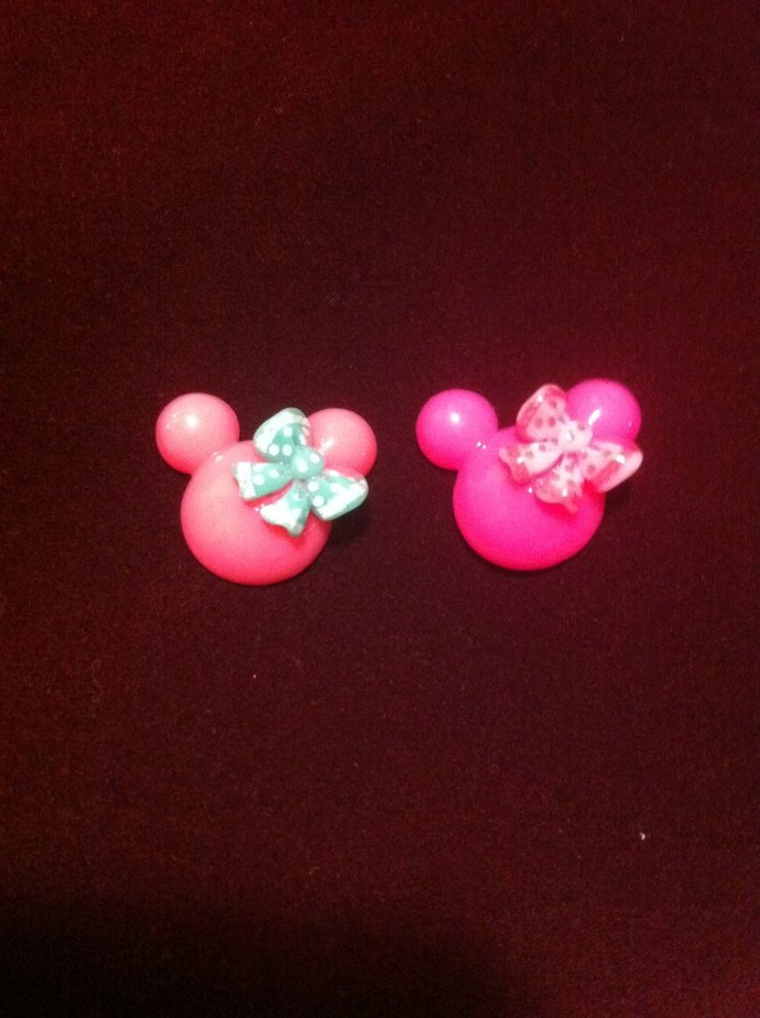 Hot Pink and Pink Resin Minnie Mouse Flat Back Cabochon Beads /Wedding Deco