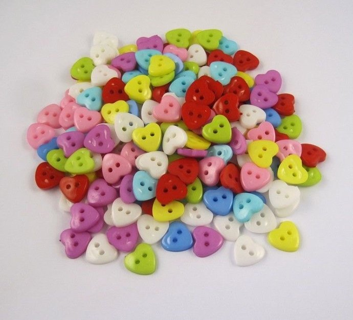 Multicolored Hearts Plastic Buttons/Two Holes Buttons/ Sewing Supplies/DIY Craft