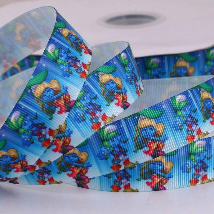 "Cartoon on Blue  Printed Grosgrain Ribbon / 7/8"" (22mm) width /DIY Hair Bow /"