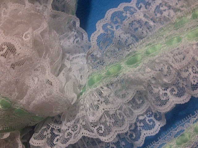 """White double tier lace with green turquoise ribbon / 2"""" (50 mm ) width / Wedding"""