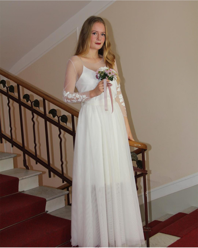 Long Sleeves Country Wedding Dress