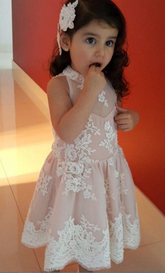 High Neck Sleeveless Short Flower Girl Dresses Lace Appliques