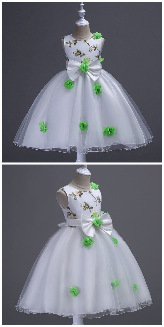 Flower Girl Dresses, Bow Embroidry Appliques Pearls Lace Kids Princess Flower