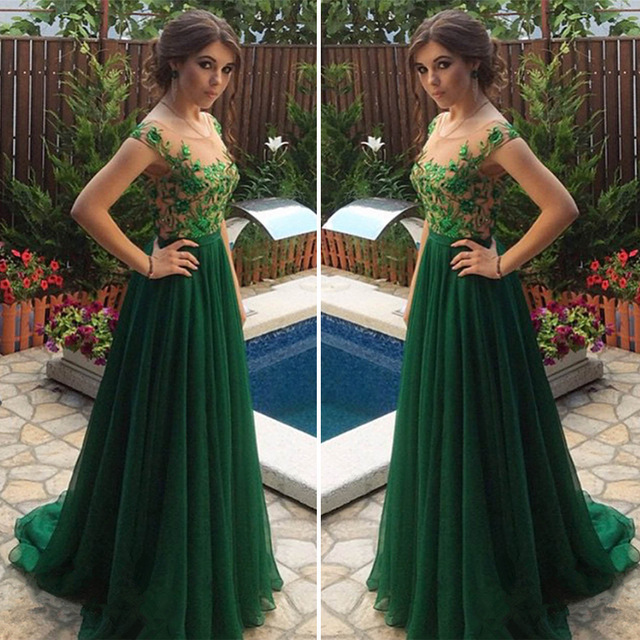 Elegant A Line Prom Dress with Appliques, Dark Green Long Evening Dress,