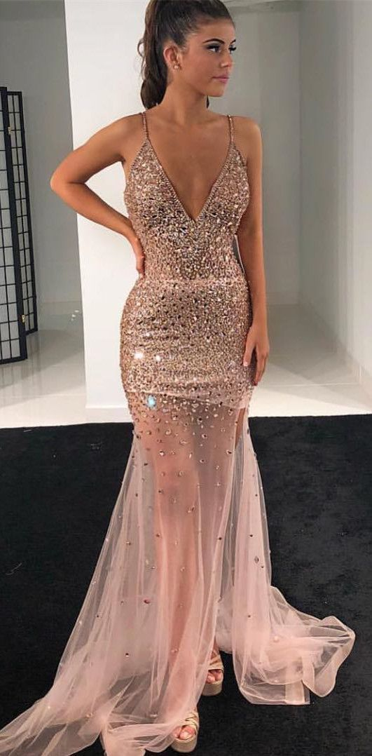 Gorgeous Deep V neck Tulle Mermaid Evening Dress, Sexy Crystal Beading Long Prom