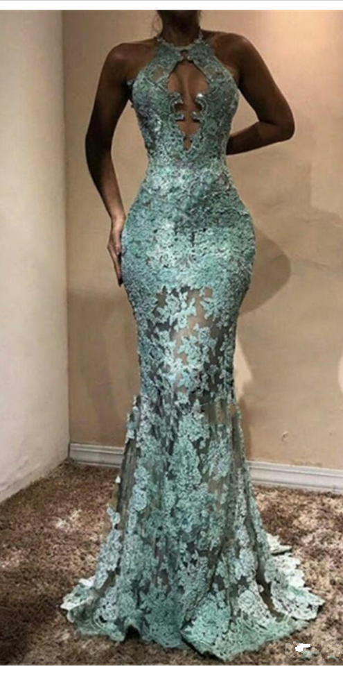 Halter Sexy Mermaid Evening Gown Illusion Lace Applique Sweep Train Big Bust