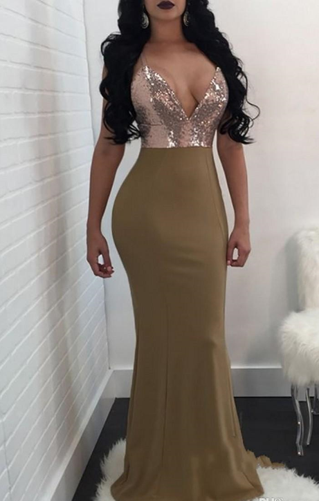 Formal Green Prom Dresses Evening Wear Spaghetti-Straps Long With Slit Sequins