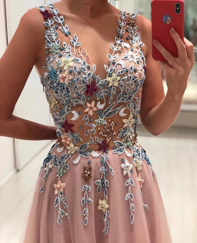 Gorgeous Appliques Tulle Evening Dress, Sexy V neck Long Prom Dress with