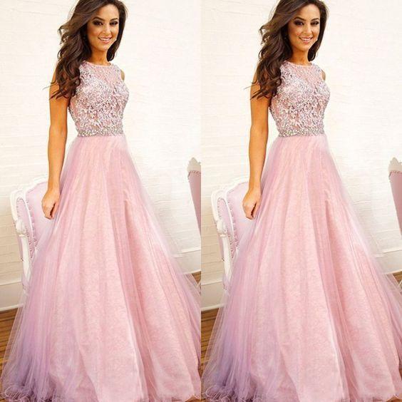 Elegant Pink Appliques Tulle Evening Dress, Pink Long Prom Dresses