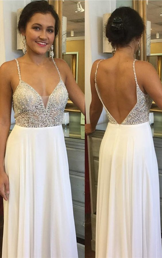 Open Back Beaded Evening Dress, Sexy Straps Long Prom Dresses