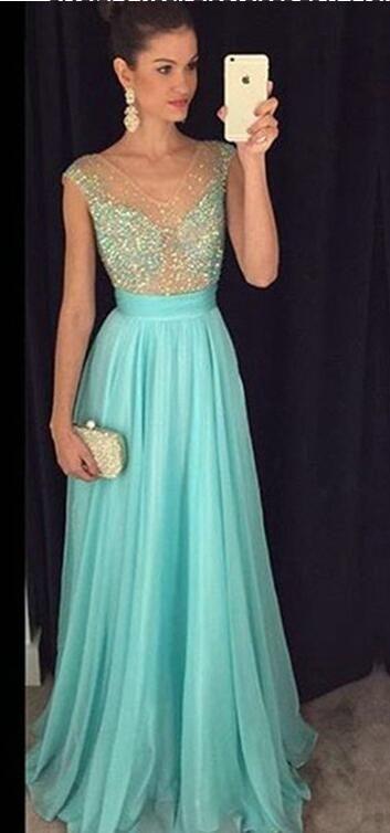 Elgant Appliques Chiffon Evening Dress, Long Prom Dress with Crystal, Dance
