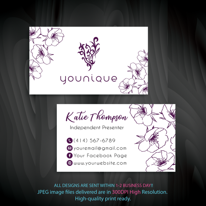Personalized Younique Business Cards, Custom Younique Cards, Custom Business