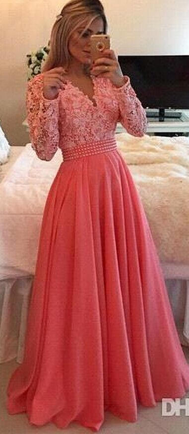 Gorgeous Appliques Evening Dress, Beaded A Line Long Prom Dresses with Pearls,