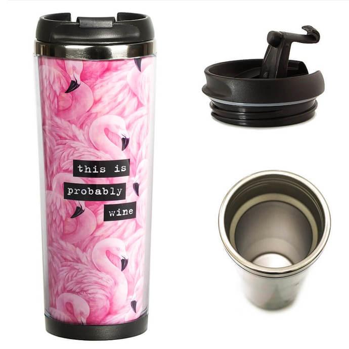 "Thermocup ""Flamingo"" Custom Travel Mug Termo Cup Coffee Cup"