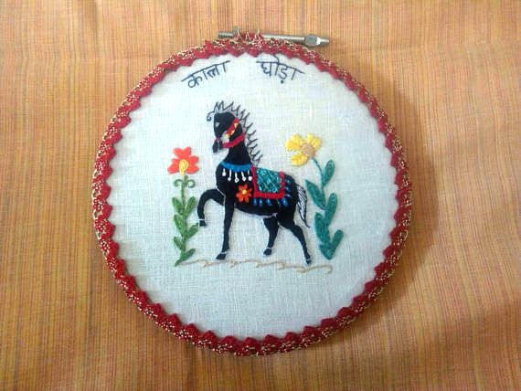 hand stitched black horse home decor, 6 inch hoop hand embroidery, kala ghoda,