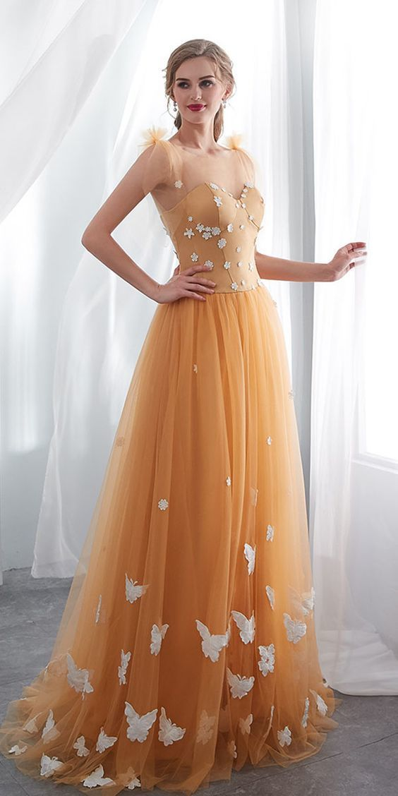 Pretty Tulle Tulle Evening Dress, A Line Long Prom Dresses,2019 Homecoming Dress