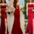 Red Mermaid Evening Dress, Side Slit Straps Mermaid Prom Dresses