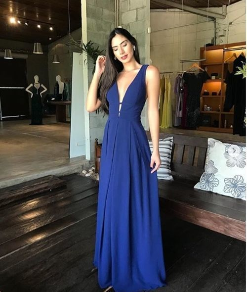 Navy Blue V neck A Line Prom Dress, Sexy Sleeveless Evening Party Gown