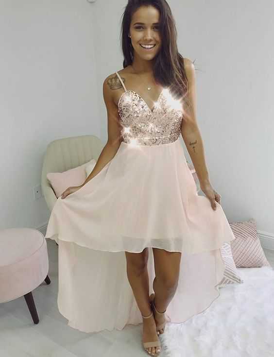 High Low Beaded Party Dress, Chiffon Straps Prom Dresses
