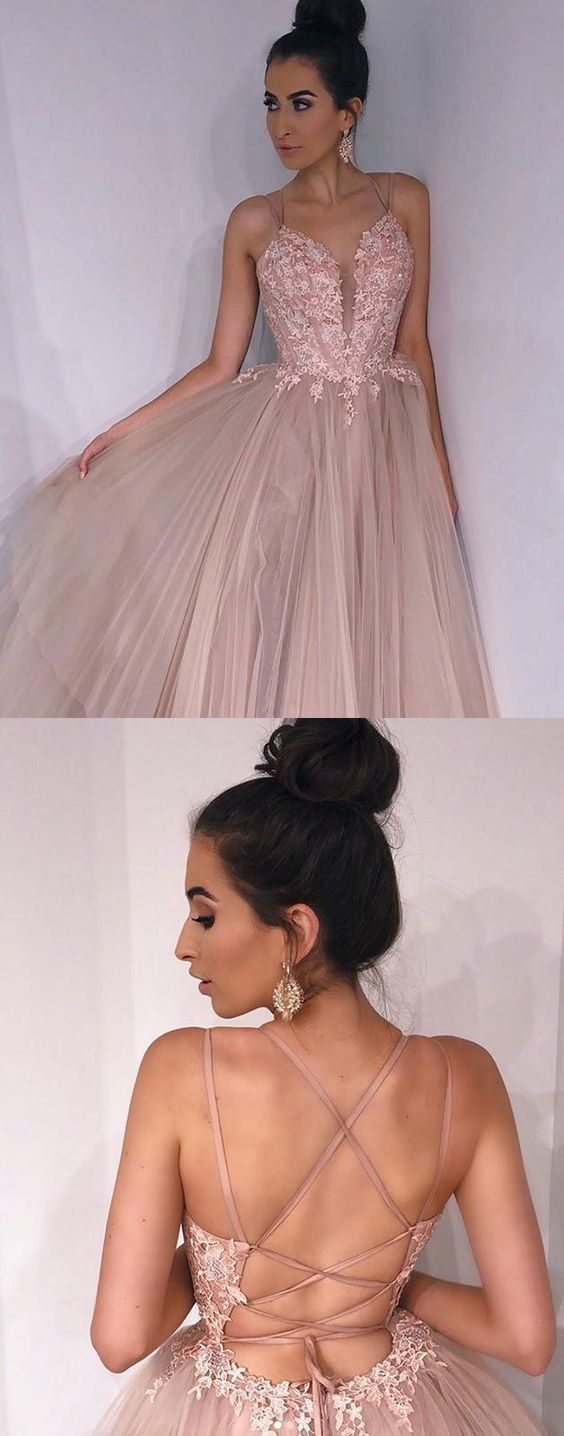 Open Back Appliques Tulle Evening Dress, Sexy Long Prom Dresses
